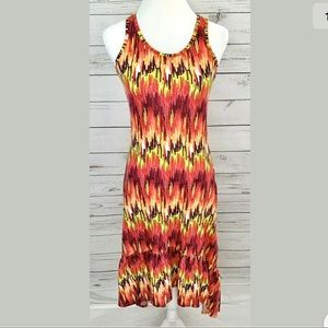 Madison Dress Red Yellow Striped Sleeveless Midi
